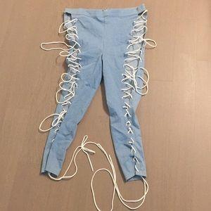 NWOT Lace up Jean